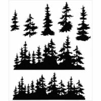 Stampers Anonymous - Tim Holtz - Cling Mounted Rubber Stamp Set - Tree Line