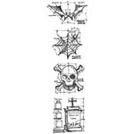 Stampers Anonymous - Tim Holtz - Cling Mounted Rubber Stamp Set - Mini Blueprint Strip - Halloween