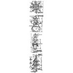 Stampers Anonymous - Tim Holtz - Cling Mounted Rubber Stamp Set - Mini Blueprint Strip - Christmas
