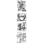Stampers Anonymous - Tim Holtz - Cling Mounted Rubber Stamp Set - Mini Blueprint Strip - Valentine