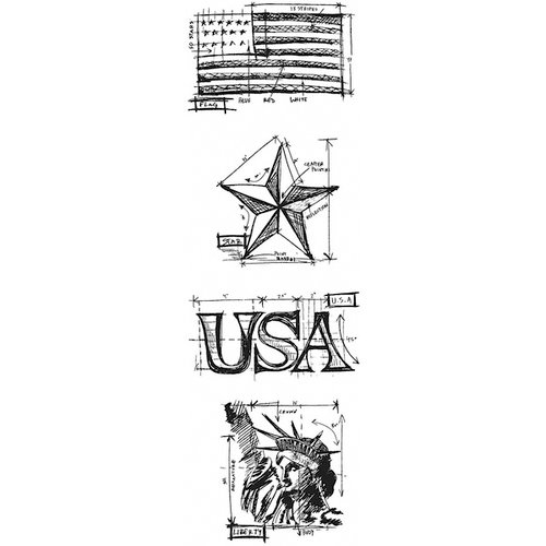 Stampers Anonymous - Tim Holtz - Cling Mounted Rubber Stamp Set - Mini Blueprint Strip - Americana