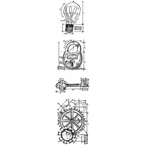 Stampers Anonymous - Tim Holtz - Cling Mounted Rubber Stamp Set - Mini Blueprint Strip - Industrial