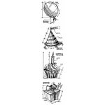 Stampers Anonymous - Tim Holtz - Cling Mounted Rubber Stamp Set - Mini Blueprint Strip - Birthday