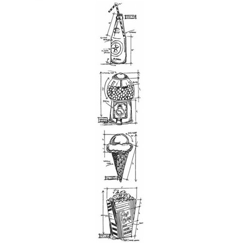 Stampers Anonymous - Tim Holtz - Cling Mounted Rubber Stamp Set - Mini Blueprint Strip - Treats