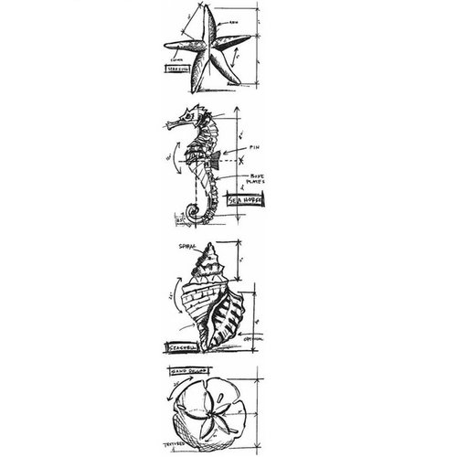 Stampers Anonymous - Tim Holtz - Cling Mounted Rubber Stamp Set - Mini Blueprint Strip - Nautical