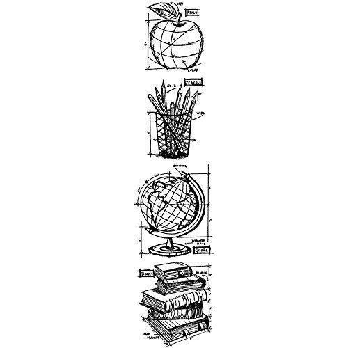 Stampers Anonymous - Tim Holtz - Cling Mounted Rubber Stamp Set - Mini Blueprint Strip - Schoolhouse