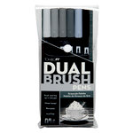 Tombow - Dual Brush Pen - 6 Color Set - Gray Scale