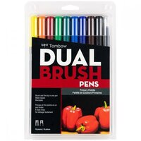 Tombow - Dual Brush Pen - 10 Color Set - Primary