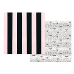Teresa Collins - Bella Girl Collection - 12x12 Double Sided Paper - Black and Pink Stripes