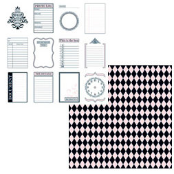 Teresa Collins - Journal-it Girl Collection - 12 x 12 Double Sided Paper - Pink Tags
