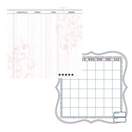 Teresa Collins - Journal-it Girl Collection - 12 x 12 Double Sided Paper - Pink Ledger