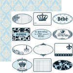 Teresa Collins - Chic Bebe Boy Collection - 12 x 12 Double Sided Paper - Mini Tags, CLEARANCE