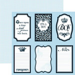 Teresa Collins - Chic Bebe Boy Collection - 12 x 12 Double Sided Paper - Notes, CLEARANCE