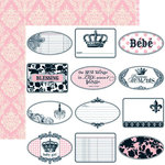 Teresa Collins - Chic Bebe Girl Collection - 12 x 12 Double Sided Paper - Mini Tags, CLEARANCE