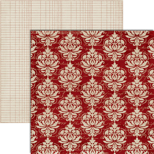 Teresa Collins - Christmas Cottage Collection - 12 x 12 Double Sided Paper - Red Damask