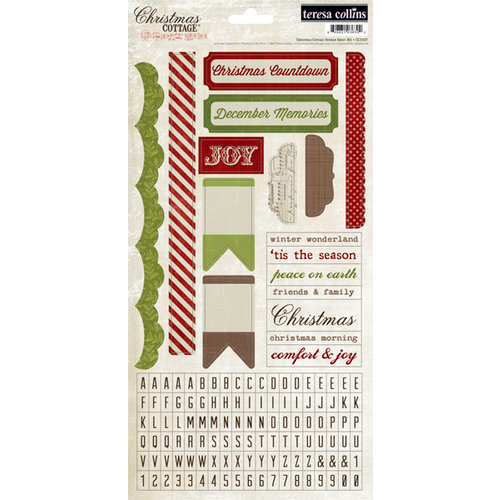 Teresa Collins - Christmas Cottage Collection - Cardstock Stickers - One