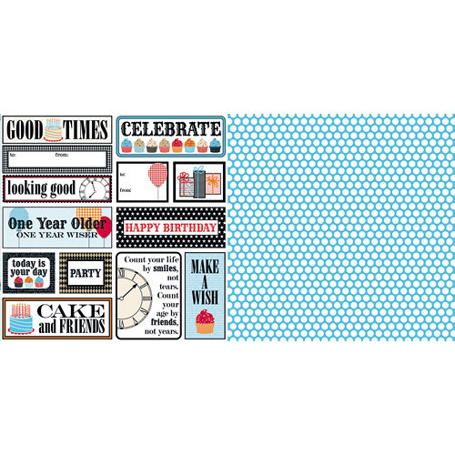 Teresa Collins - Celebrate Collection - 12 x 12 Double Sided Paper - Tags, CLEARANCE