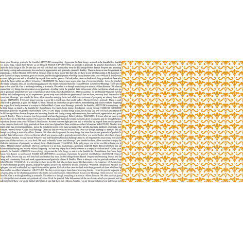 Teresa Collins - Giving Thanks Collection - 12 x 12 Double Sided Paper - Gratitude Notes