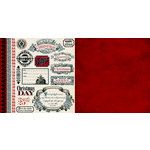 Teresa Collins - Noel Collection - Christmas - 12 x 12 Double Sided Paper - Tags and Borders