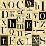 Teresa Collins - Notations Collection - 12 x 12 Die Cut Paper - Alphabet
