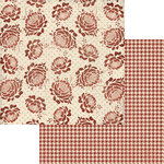 Teresa Collins - Now And Then Collection - 12 x 12 Double Sided Paper - Red Flower