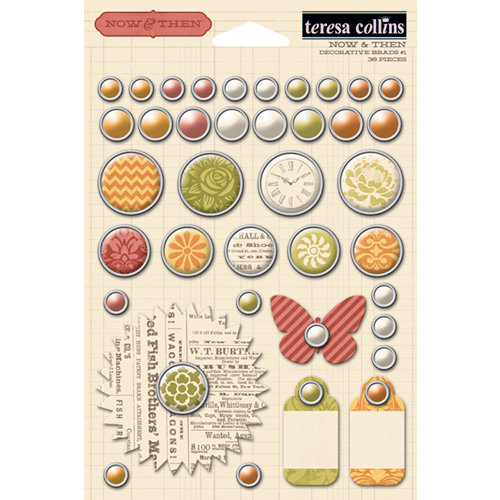 Teresa Collins - Now And Then Collection - Decorative Brads - One