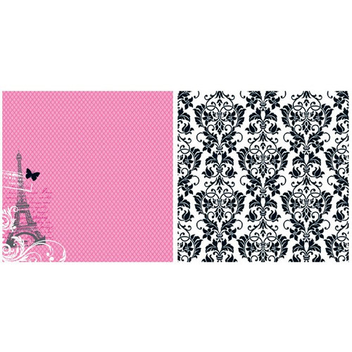 Teresa Collins - Posh Collection - 12 x 12 Double Sided Paper - Pink Fishnet