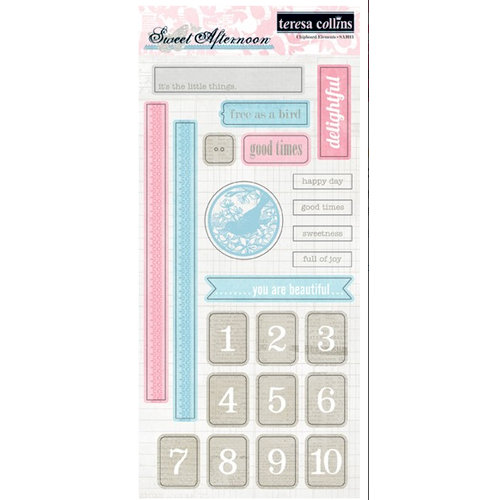 Teresa Collins - Sweet Afternoon Collection - Die Cut Chipboard Stickers - Elements 1