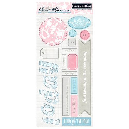 Teresa Collins - Sweet Afternoon Collection - Die Cut Chipboard Stickers - Elements 2