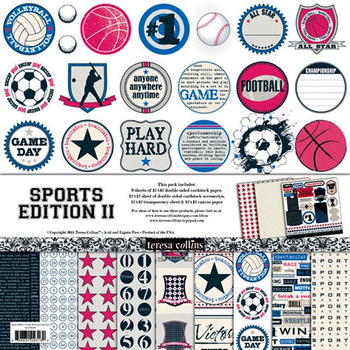 Teresa Collins - Sports Edition II Collection - 12 x 12 Paper and Accessories Pack