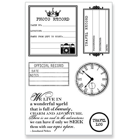 Teresa Collins - Travel Ledger Collection - Clear Acrylic Stamp Set