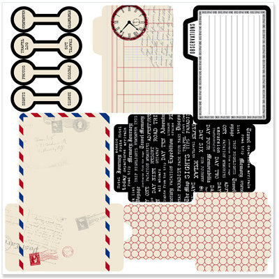 Teresa Collins - Travel Ledger Collection - Die Cut Library Envelopes