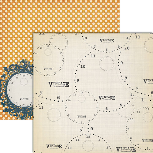 Teresa Collins - Vintage Finds Collection - 12 x 12 Double Sided Paper - Clocks