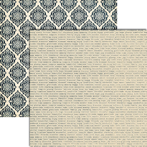 Teresa Collins - Vintage Finds Collection - 12 x 12 Double Sided Paper - Word Labels