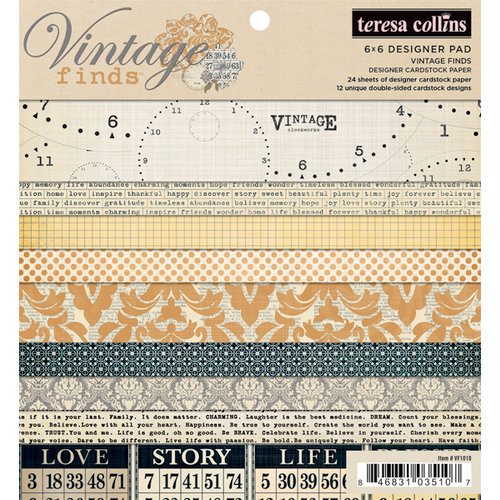 Teresa Collins - Vintage Finds Collection - 6 x 6 Paper Pad