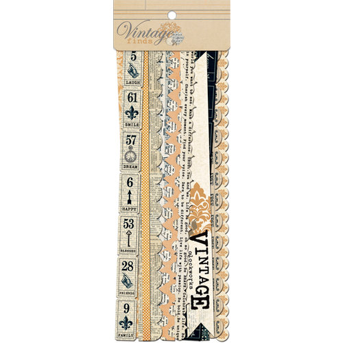 Teresa Collins - Vintage Finds Collection - Border Strips with Glitter Accents