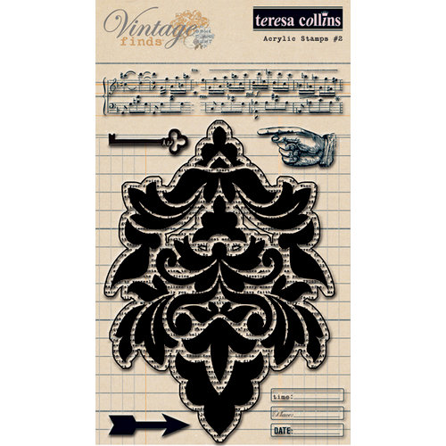 Teresa Collins - Vintage Finds Collection - Clear Acrylic Stamps - Two
