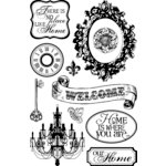 Teresa Collins - Welcome Home Collection - Clear Acrylic Stamp Set, BRAND NEW