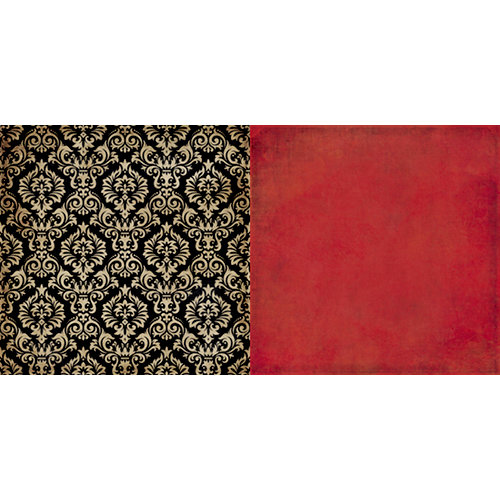 Teresa Collins - World Traveler Collection - 12 x 12 Double Sided Paper - Black Damask
