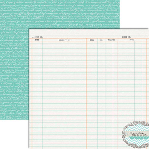 Teresa Collins - Tell Your Story Collection - 12 x 12 Double Sided Paper - Ledger