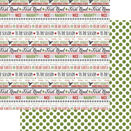 Teresa Collins - Candy Cane Lane Collection - Christmas - 12 x 12 Double Sided Paper - Word Art