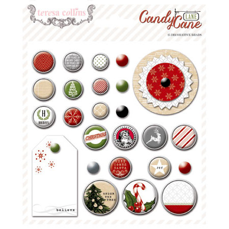 Teresa Collins - Candy Cane Lane Collection - Christmas - Decorative Brads