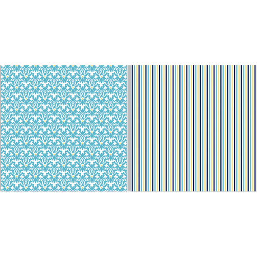 Teresa Collins - Everyday Moments Collection - 12 x 12 Double Sided Paper - Blue Scroll