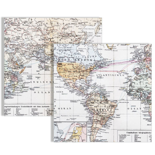 Teresa Collins - Far and Away Collection - 12 x 12 Double Sided Paper - Maps
