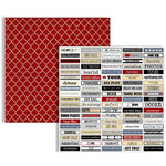 Teresa Collins - Far and Away Collection - 12 x 12 Double Sided Paper - Word Labels