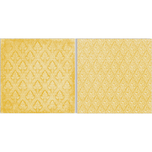 Teresa Collins - Fabrications Collection - Canvas - 12 x 12 Double Sided Paper - Yellow Brocade