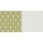 Teresa Collins - Fabrications Collection - Linen - 12 x 12 Double Sided Paper - Green Brocade