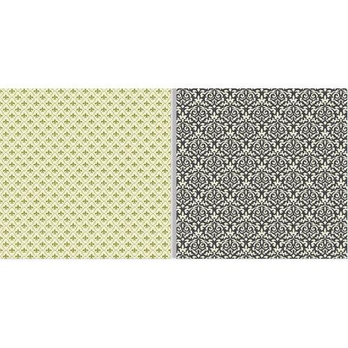 Teresa Collins - Fabrications Collection - Linen - 12 x 12 Double Sided Paper - Green Fleur De Lis