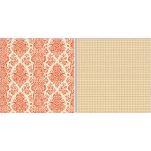 Teresa Collins - Fabrications Collection - Linen - 12 x 12 Double Sided Paper - Red Brocade