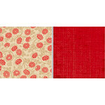 Teresa Collins - Fabrications Collection - Linen - 12 x 12 Double Sided Paper - Red Flowers